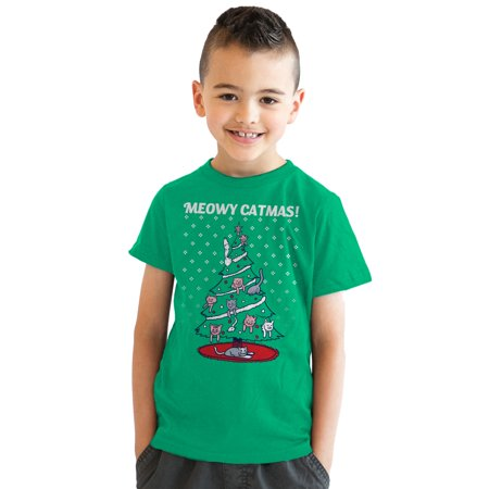 Crazy Dog T-shirts Youth Meowy Christmas Cat Tree Ugly Christmas Sweater T shirt GREEN