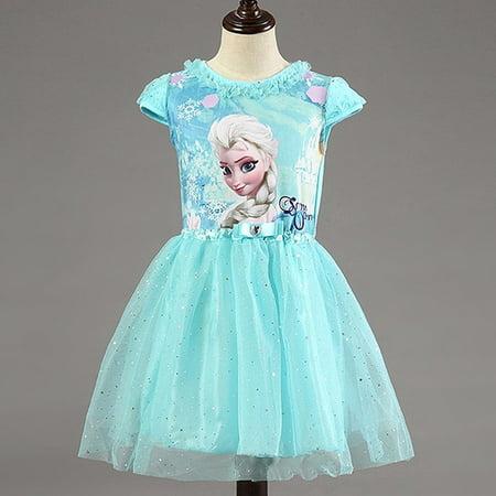 New Princess Elsa and Anna Girls Dress-up-Blue (5), Beautiful Anna and Elsa Princess dress By FlyFreely