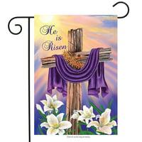 """Easter Cross Garden Flag Religious He Is Risen Briarwood Lane 12.5"""" x 18"""""""