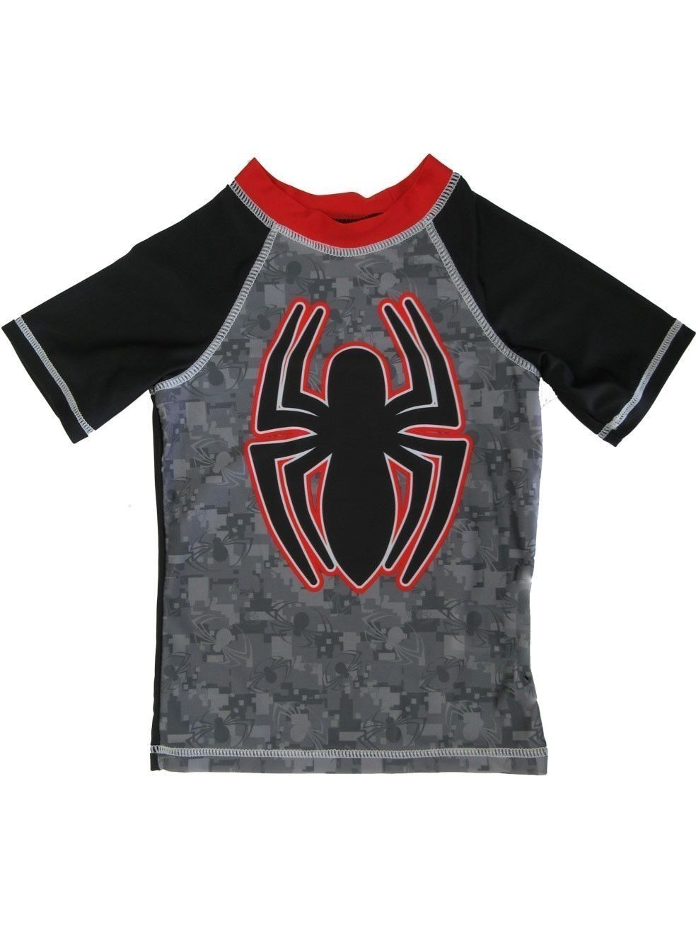 Marvel Little Boys Grey Black Spider-Man Short Sleeve Rashguard 4-7