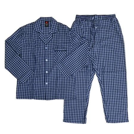 Hanes Mens 2 Piece Blue Plaid Woven Shirt & Pants Pajama Sleep Set  - Size - Medium