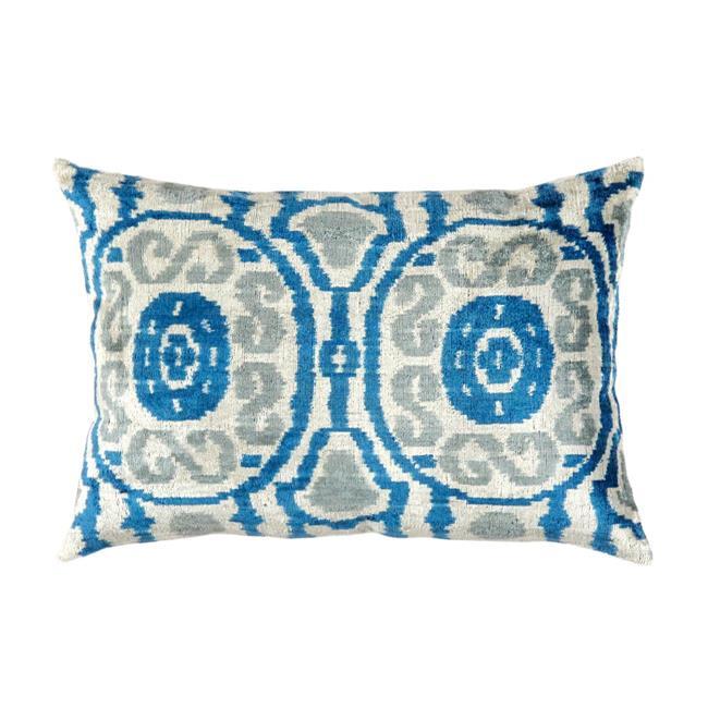 Pasargad IK30 16 x 24 in. Silk Velvet Ikat Pillow - Blue & Gray - image 1 de 1