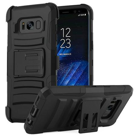 buy popular 0e2b7 babc9 Samsung Galaxy S8 Plus Heavy Duty Case, Dual Layer Hard Case w/ Kickstand  on Silicone Skin Case w/ Holster [Black]