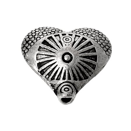 Hammered Circle Ring Beads (10 Pcs Heart Charm Beads Antique Silver Circle Ring Carved Pattern 12mm)