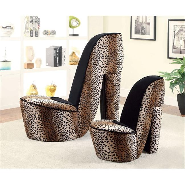 Furniture Of America IDF-AC6807LP-L Heely Accent Chair With Shoe Inspired Flannelette Fabric - Leopard