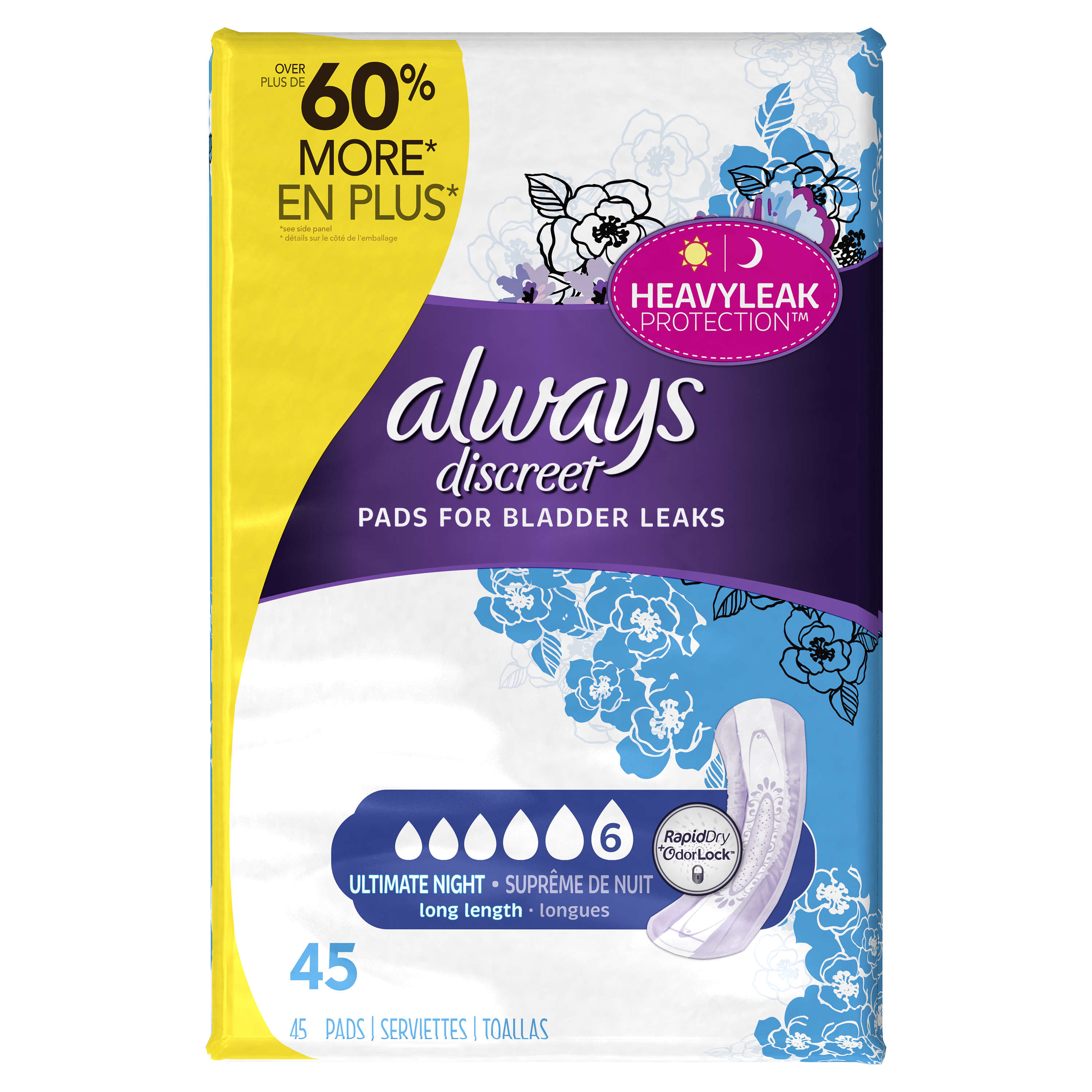 Always Discreet Incontinence Pads, Ultimate Overnight, Long Length, 45 Ct