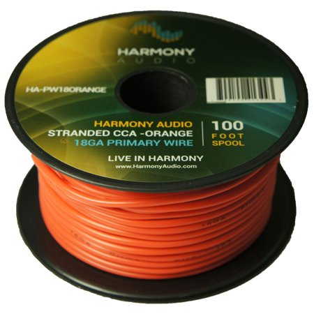 Harmony Audio HA-PW18ORANGE Primary Single Conductor 18 Gauge Orange Power or Ground Wire Roll 100 Feet Cable for Car Audio / Trailer / Model Train / Remote