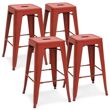 - Best Choice Products 24in Set of 4 Stackable Modern Industrial Distressed Metal Counter Height Bar Stools - Red