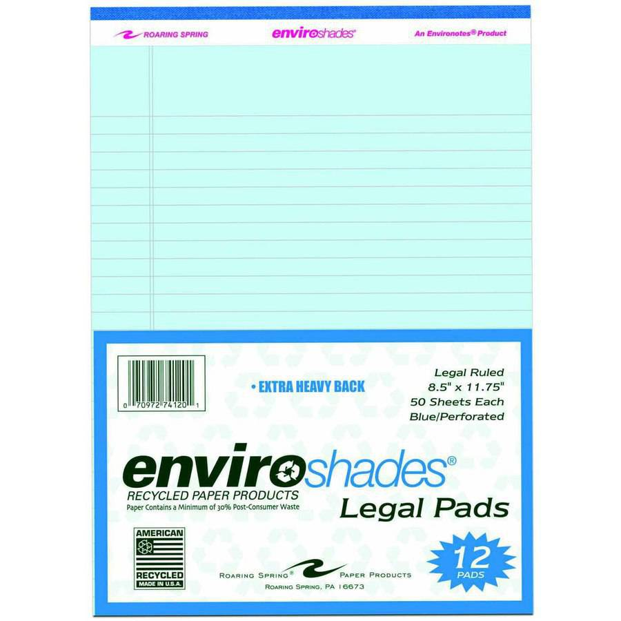 Roaring Spring Enviroshades Legal Pad, Letter Size, 50 Sheets, Multiple Colors, Pack of 12