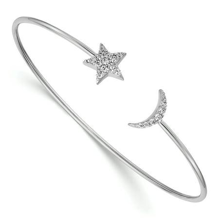 14 Karat White Gold Diamond Moon and Star Flexible Bangle 14k Gold Flexible Bangle