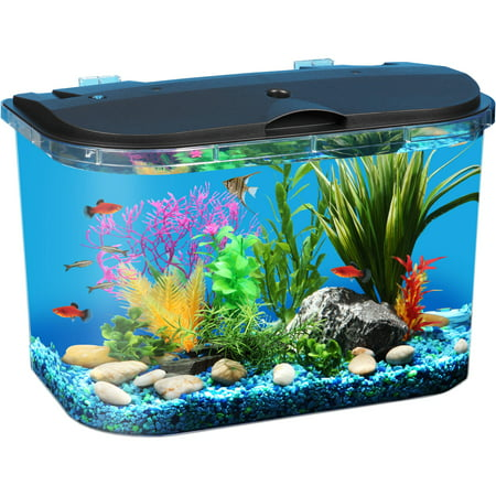 Aquarium Lighted Fish Tank - Hawkeye 5-Gallon Panaview Aquarium with LED Lighting and Power Filter