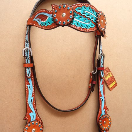 HILASON WESTERN AMERICAN LEATHER HORSE BRIDLE HEADSTALL TURQUOISE MAHOGANY