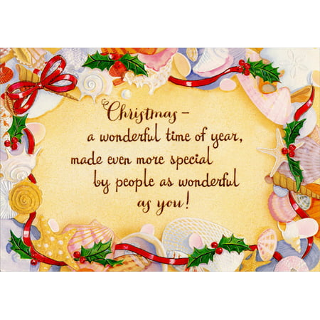 Christmas Card Border.Red Farm Studios Sand With Shells And Ribbons Border Tropical Beach Christmas Card