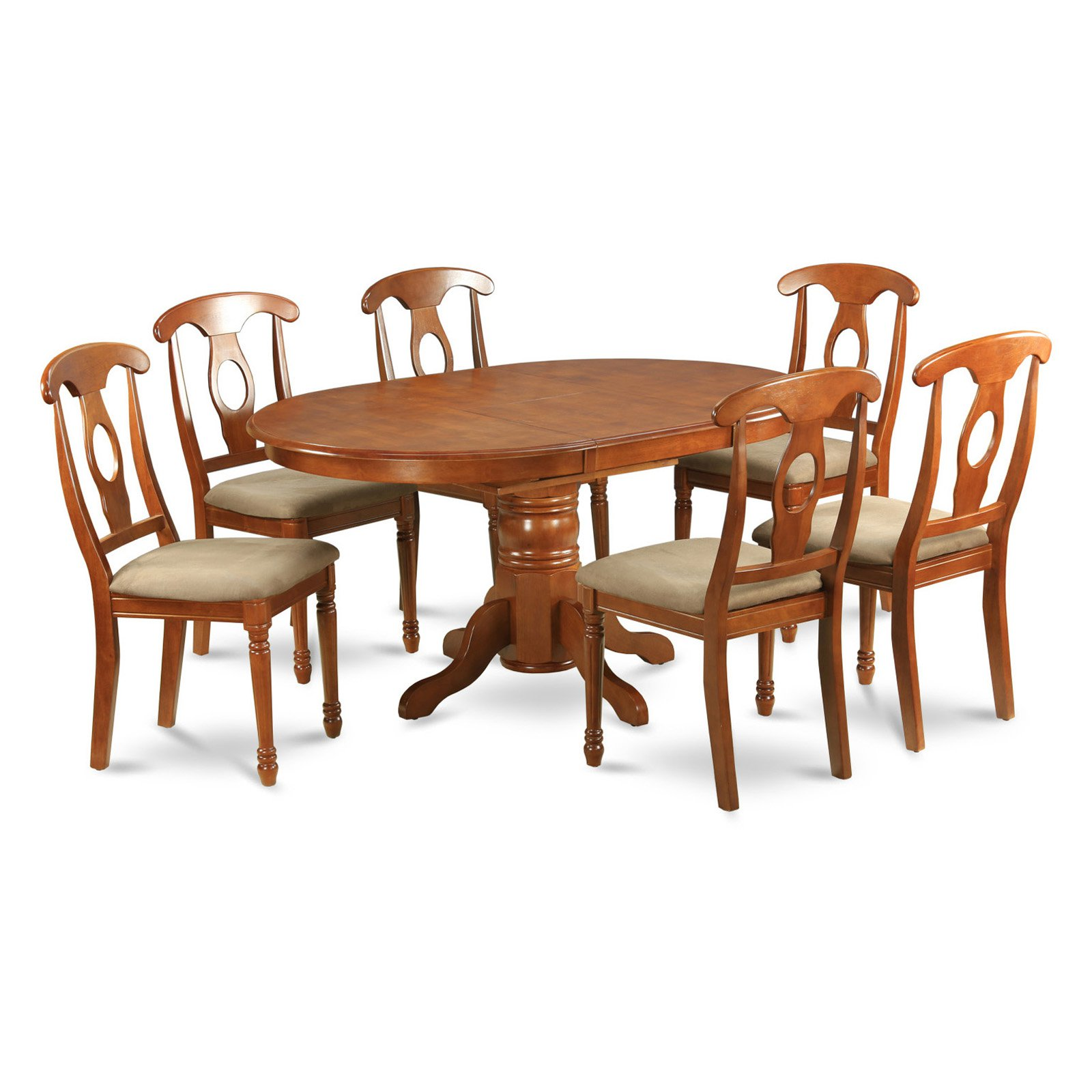 East West Furniture Avon 7 Piece Pedestal Oval Dining Table Set with Kenley Microfiber Seat Chairs