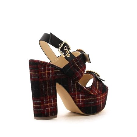 Red Plaid Buckle Open Toe Platform Chunky High Heels Retro Flair - (Retro Buckle)