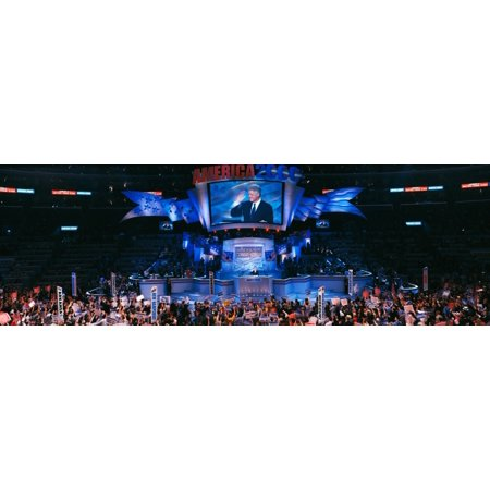 Democratic Convention at Staples Center Former President Bill Clintons farewell address of 2000 Los Angeles CA Canvas Art - Panoramic Images (36 x - Halloween Convention Los Angeles