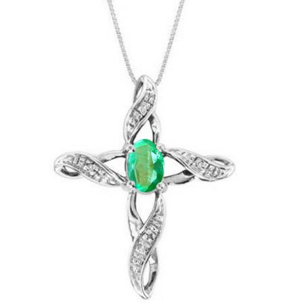 Diamond & Emerald Cross Pendant Necklace Set In Sterling Silver .925 with 18