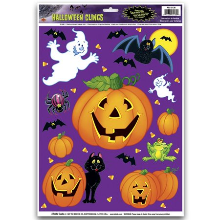 Club Pack of 144 Halloween Pumpkin Patch Decorative Window Clings