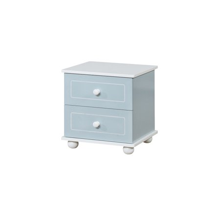 Benzara Two Drawer Solid Wood Nightstand with Round Feet, Blue And White ()