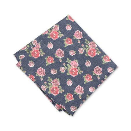 Men's One Douglass Rose Floral Print Pocket Square Not