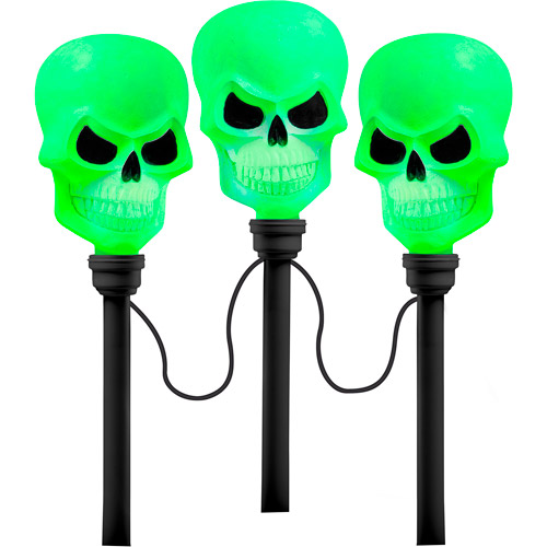 Color Changing Skulls Pathway Markers, 3-Count