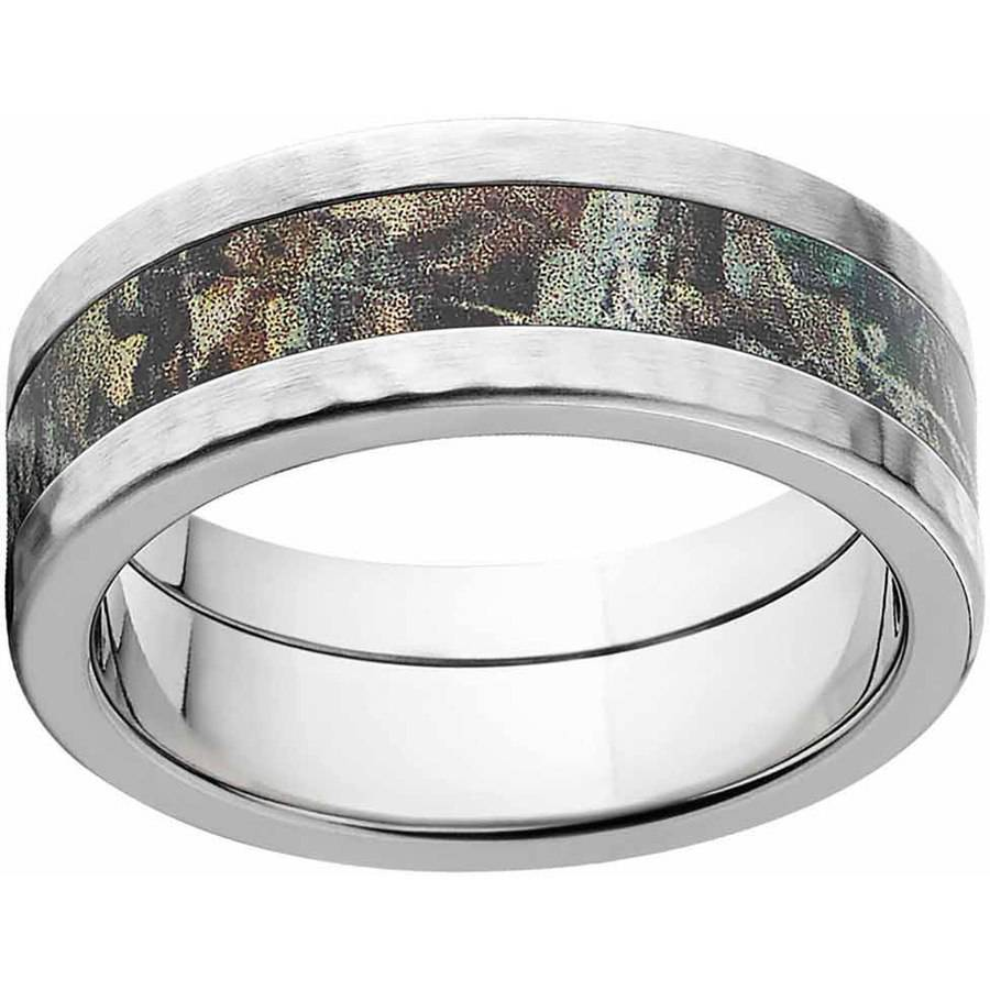 RealTree Timber Men's Camo Stainless Steel Ring with Hammered Edges and Deluxe Comfort Fit
