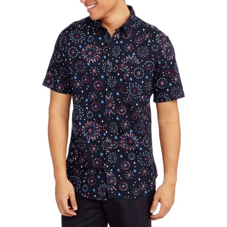 Straight Faded Mens Short Sleeve Fireworks Print Hawaiian Woven Shirt