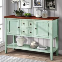"""46"""" Wood Console Table Storage Cabinet, Buffet Cabinet Sideboard with Four Storage Drawers Two Cabinets and Bottom Shelf for Dining Room Home Furniture, Antique Gray, I7995"""