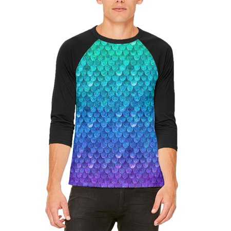 Halloween Mermaid Scales Costume Mens Raglan T Shirt - Halloween Menu Ideas