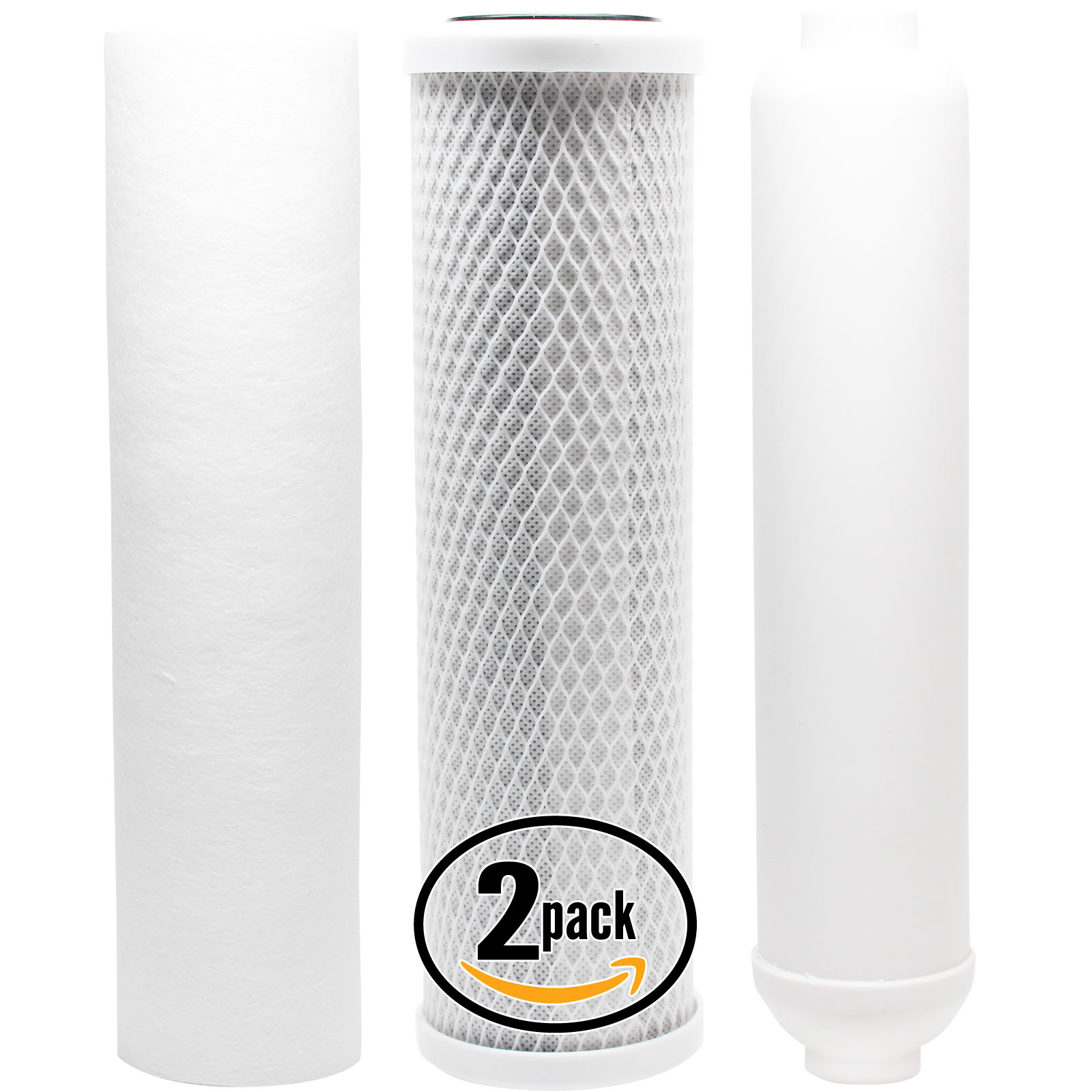 2-Pack Replacement Filter Kit for Topway Global (TGI) WIN-445 RO System - Includes Carbon Block Filter, PP Sediment Filter & Inline Filter Cartridge - Denali Pure Brand