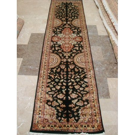 Rare Hot Black Flowers Lively Soft Hand Knotted Carpet Hall Way Runner Rug (10.0 x 2.7)' ()