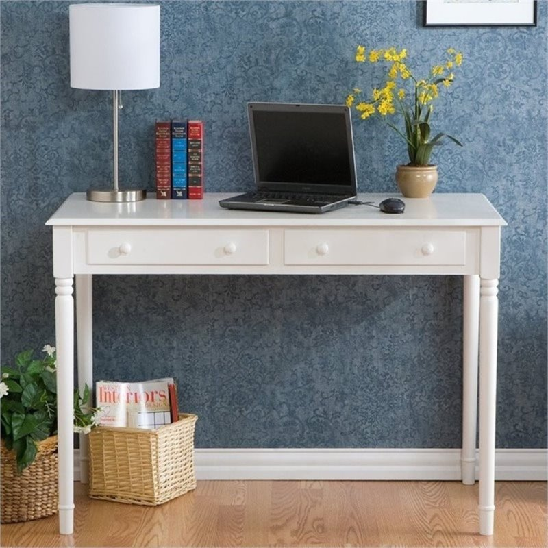 Bowery Hill 2 Drawer Writing Desk in Crisp White