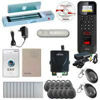 FPC-5728 1 Door Access Control Time Attendance OutSwinging Door 300lb MagLock, TCP/IP RS485 Indoor/Outdoor Biometric Fingerprint Reader, Software Included 3000 Users, Receiver, PIR Kit