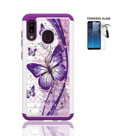 For Samsung Galaxy A20 /A205G / A30 Case, Studded Crystal Bling Cover Case + Tempered Glass Screen Protector (White Purple Butterfly)