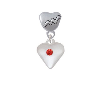 Large Red Birthday Crystal Heart - Heartbeat Charm Bead
