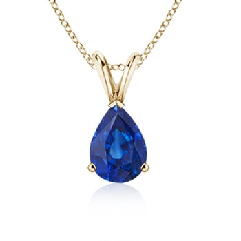 Angara Prong Pear Sapphire Solitaire Pendant with Diamond in 14k Yellow Gold wncribIn