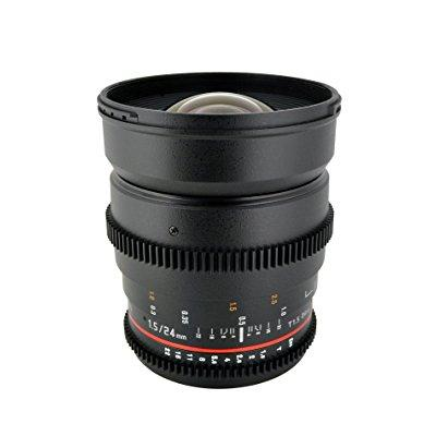 Rokinon 24mm T1.5 Wide Angle Cine Lens for Olympus and Panasonic Micro 4/3 (MFT) Mount Digital Cameras