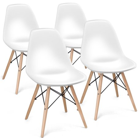 Gymax Set of 4 Armless DSW Dining Chair Modern Dining Side Chair w/ Wood