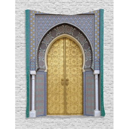 - Moroccan Decor Wall Hanging Tapestry, Antique Doors, Morocco Gold Doorknob Ornamental Carved Intricate Artistic, Bedroom Living Room Dorm Accessories, By Ambesonne