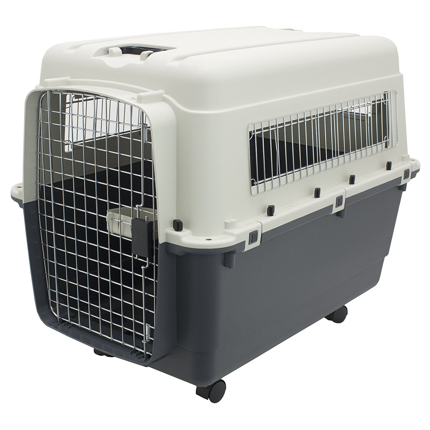 "Pet Kennel Direct 32"" Airline Approved Plastic Dog / Cat Pet Kennel Carrier or Air Travel with Chrome Door and Food / Water Cup and Wheels Foldable Dog Travel Crate"