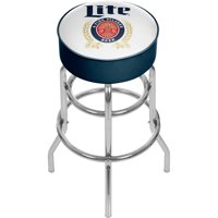 Miller Lite Padded Swivel Bar Stool, Retro