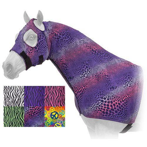 MED ZEBRA PRINT TOUGH1 HORSE GROOMING TACK FLEECE LINED LYCRA MANE STAY HOOD