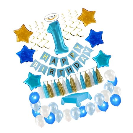 1st Birthday Boy Decorations kit- Complete One Year Party Decoration- First B... (1st Birthday Party Ideas For Boys Themes)