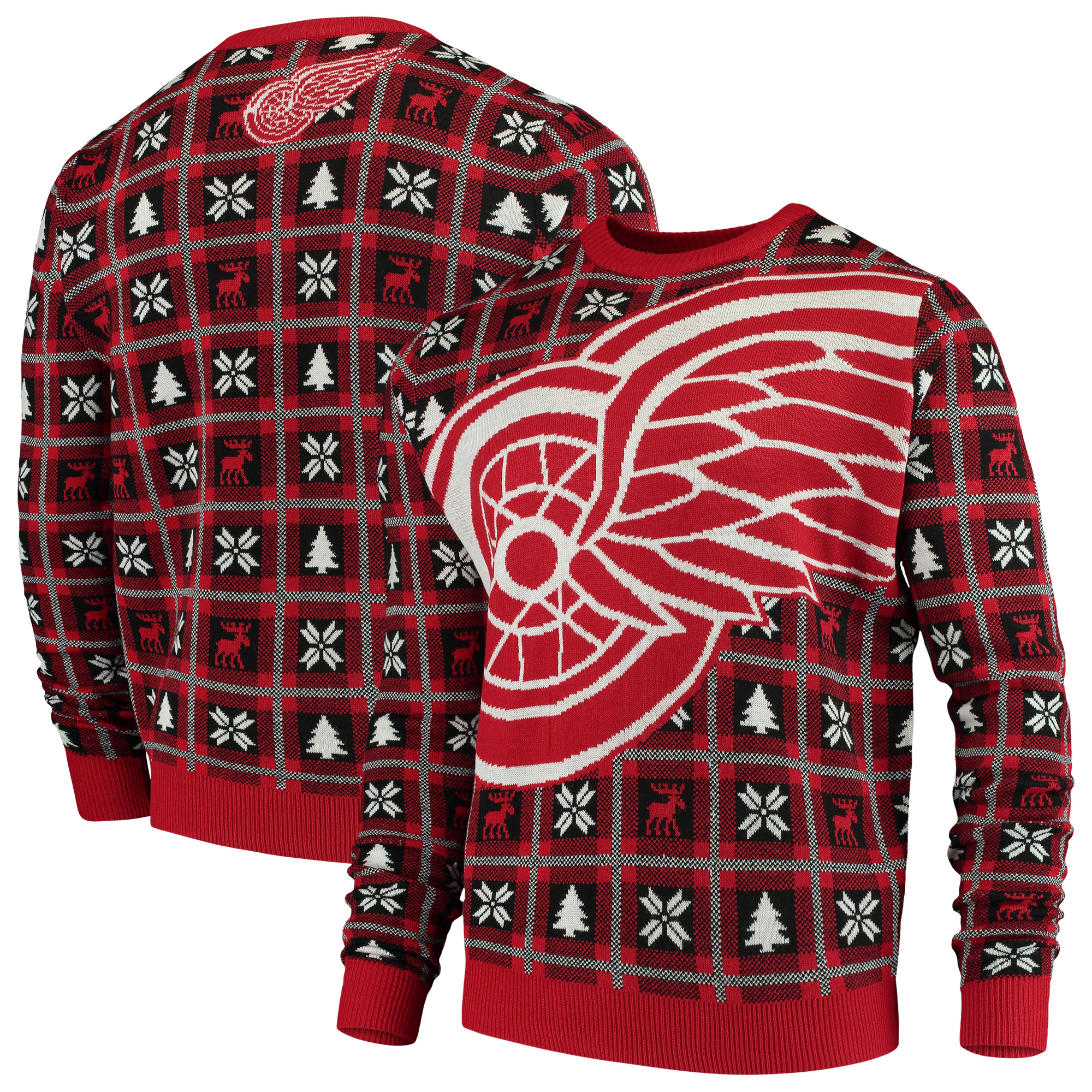 Detroit Red Wings Big Logo Ugly Sweater - Red