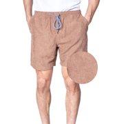 Mens Elastic Waist Corduroy Shorts Drawstring Tie 6 Inch Casual Khaki Walkshort (Large, Khaki)