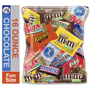 (16 Ounce) Variety Assortment Mix Bulk Pack Chocolate M&M's, Snickers, Milky Way, Twix, Reese's, York, 100 Grand, Almond Joy, Kitkat.