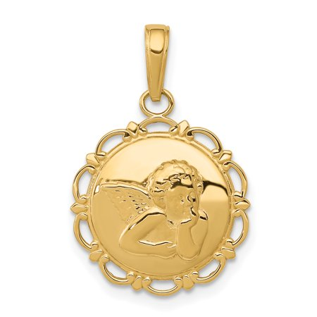 14k Yellow Gold Angel/cherub On Round Scallop Frame Pendant Charm Necklace Religious Angel Gifts For Women For Her
