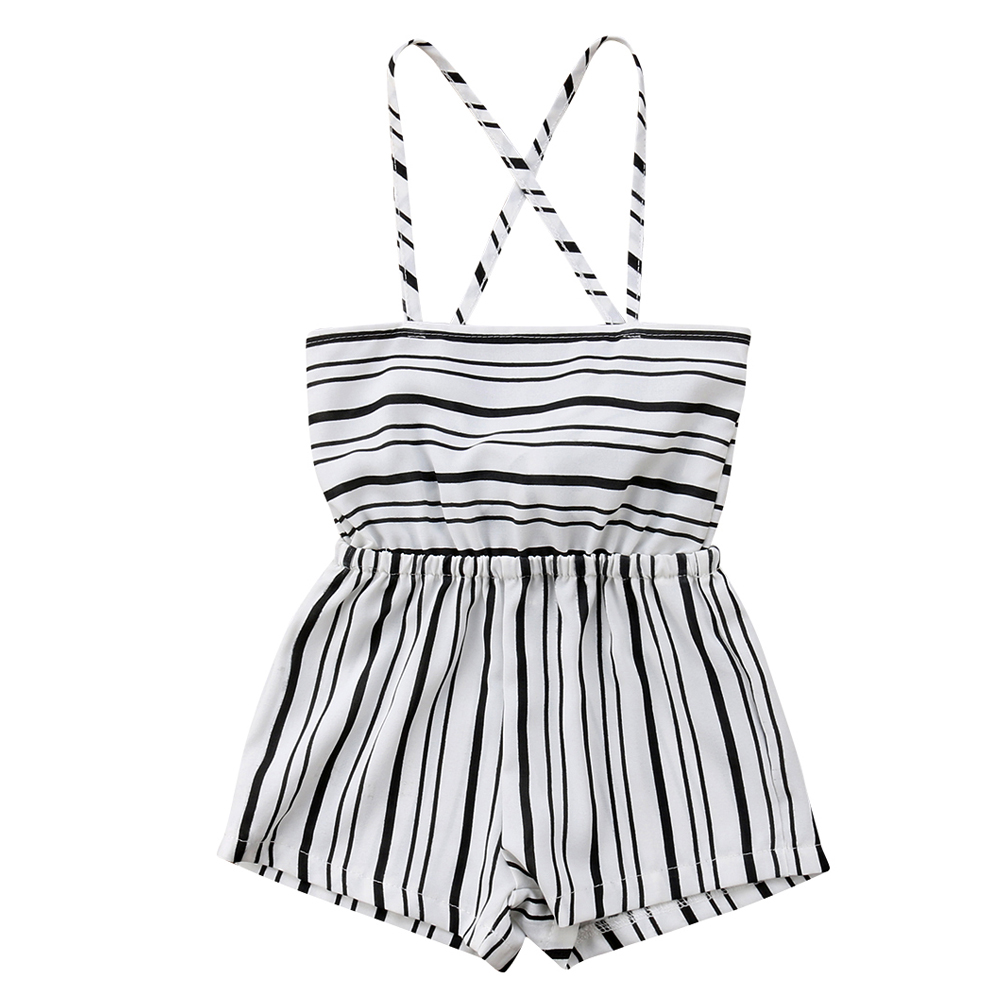 US Stock Toddler Kids Baby Girl Stripe Brace Pants Overalls Jumper Romper Outfit