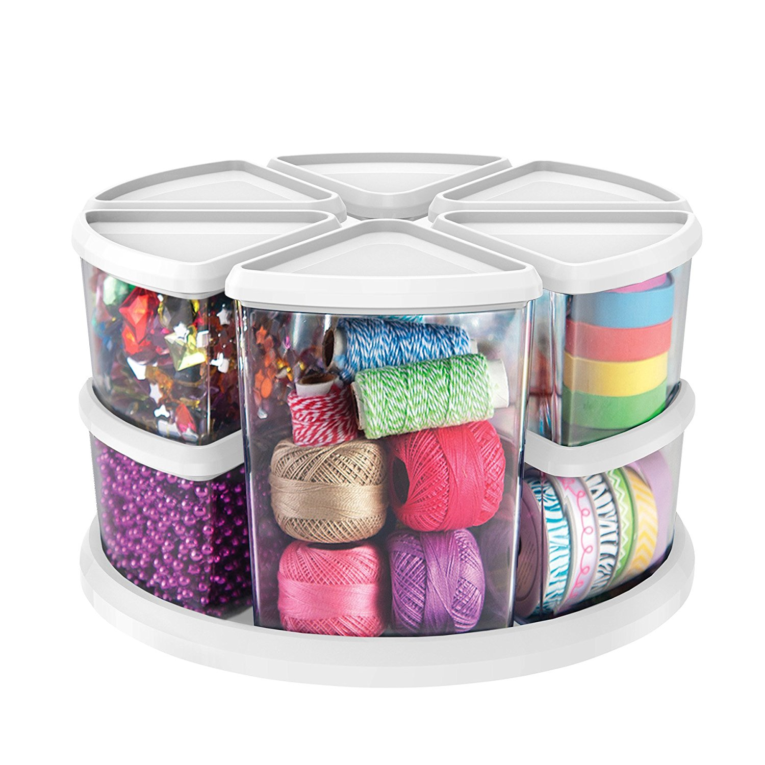 "Rotating Carousel Organizer, Nine Canisters, Three 6"" and Six 3"" (3901CR), Great for storing small craft supplies By Deflecto"
