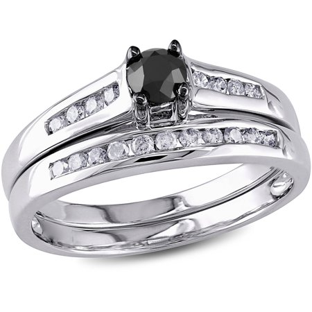 1 2 Carat T W  Black And White Diamond 10Kt White Gold Bridal Set